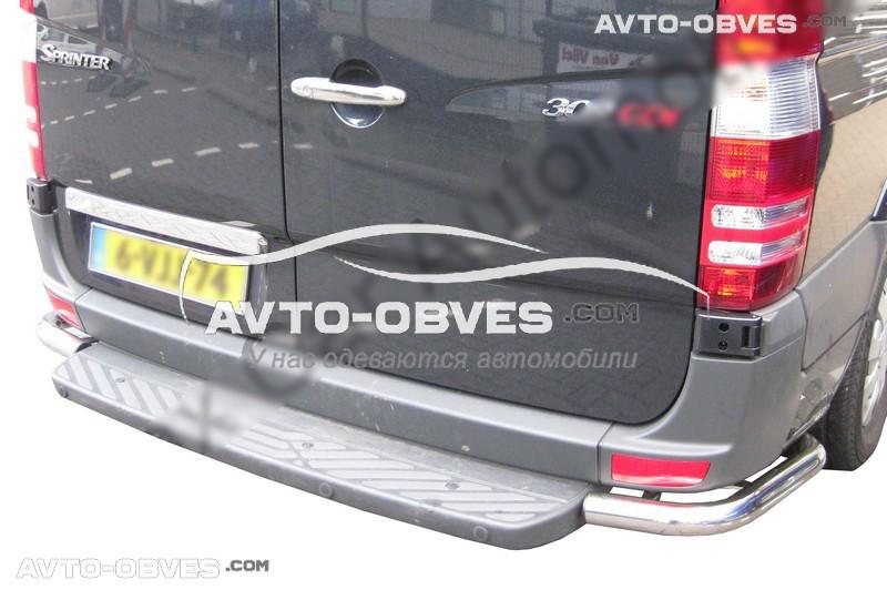 Защита заднего бампера Mercedes Sprinter 2013-2018, углы одинарные (под подножку заднюю) (Tamsan)