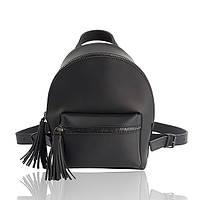 Рюкзак кожаный черный матовый, фото 1