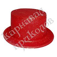 Шляпа детская Цилиндр блестящая (красная)