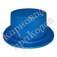 Шляпа детская Цилиндр блестящая (голубая)