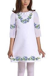 Заготовка дитячого плаття чи сукні для вишивки та вишивання бісером Бисерок «Ніжні квіти» (ДП-30)
