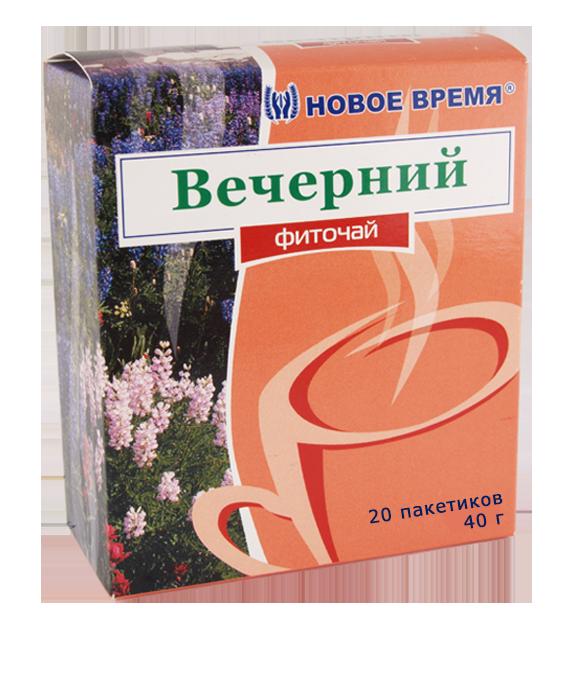 """Чай травяной успокоительный при неврозах, стрессе, головной боли """"Вечерний"""" Новое время, 20 пак. (40 г)"""