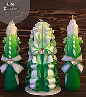 Свадебные свечи в красивых зеленых тонах