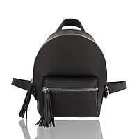 Рюкзак кожаный черного цвета матовый, фото 1