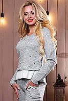 Красивый стильный женский свитшот-кофта 2497 светло-серый