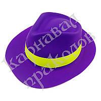 Шляпа Мужская пластик с лентой (фиолетовая)