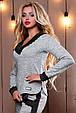 Стильный женский свитшот-кофта 2496 светло-серый, фото 2