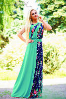 Летнее зеленое платье в пол с цветочным принтом