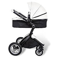 Детская коляска-трансформер 2 в 1 Kid1st Белая эко-кожа Прогулочная и люлька (для новорожденных и до 4 лет)