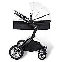 Детская коляска-трансформер 2в1 Kid1st Белая эко-кожа Прогулочная и люлька
