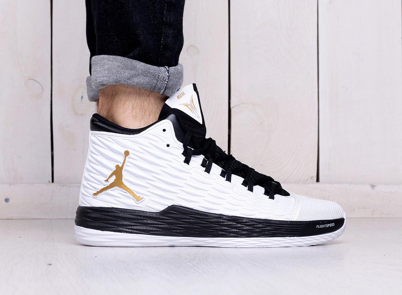 Мужские кроссовки стильные Nike Jordan Melo 13 White Black Gold Shoes (найк  эир джордан 937ec103433bd