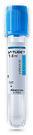 Вакуум пробірка V-tube для забору крові блакитна кришечка з цитратом Na, 1,8 мл