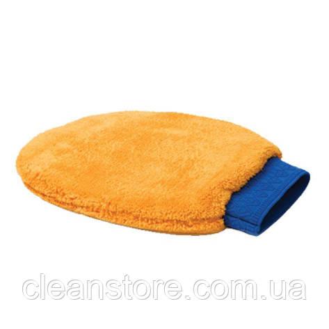Оранжевая рукавица из микрофибры для чистки, фото 2