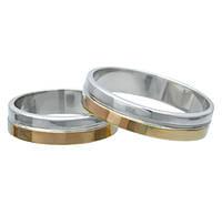 (Пара) Серебряные обручальные кольца с золотыми пластинами