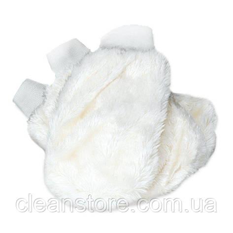Белая меховая рукавица для чистки и нанесения составов, фото 2