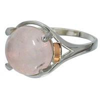 """Женское серебряное кольцо с золотыми пластинами """"Ирис"""" розовый кварц."""