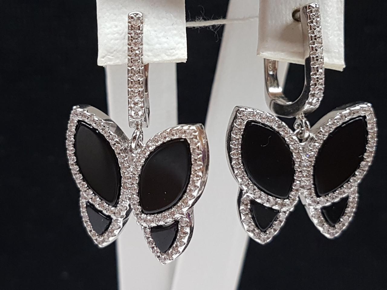 Серебряные серьги с фианитами. Артикул 54444