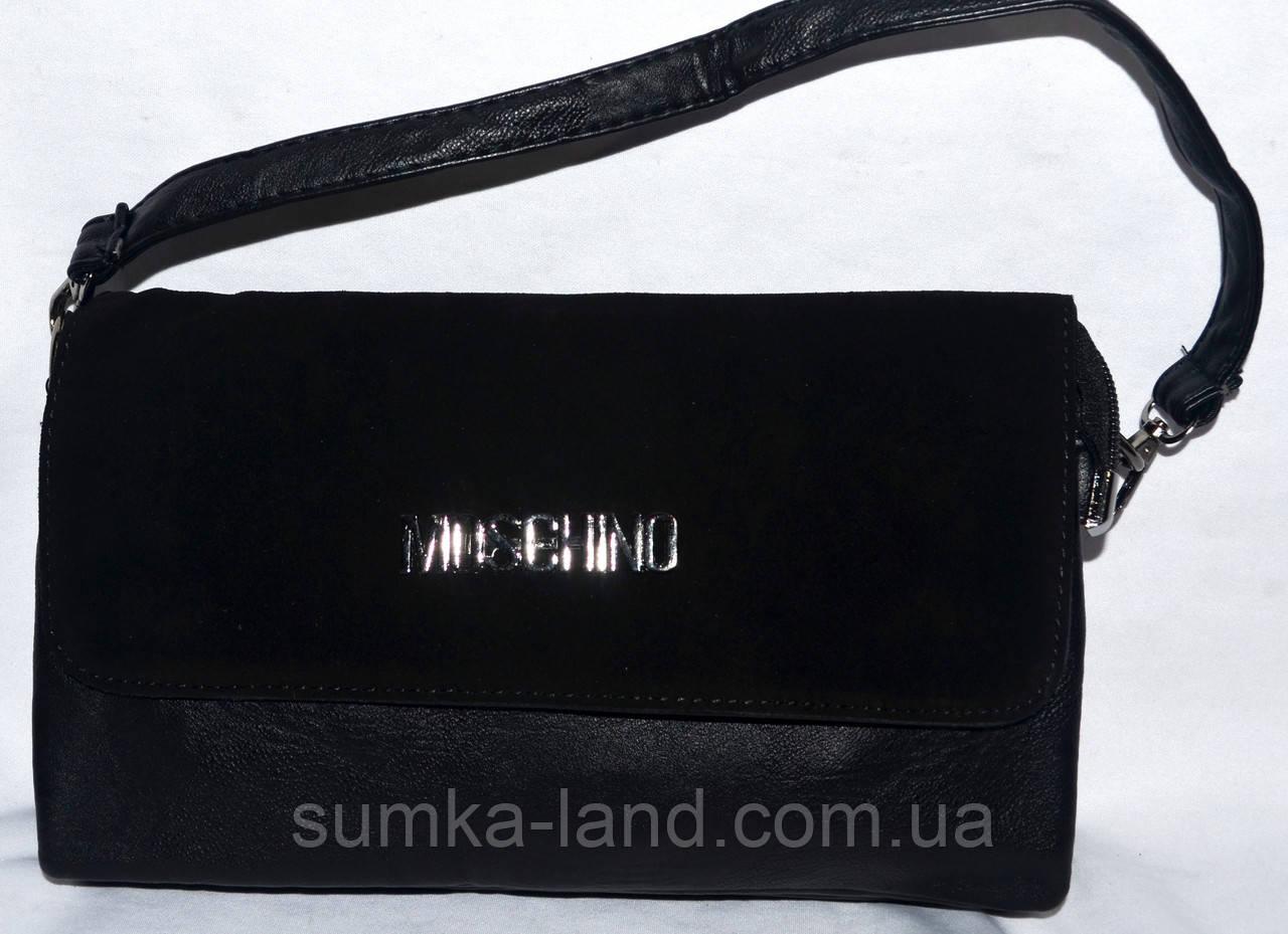 3c98d18800c2 Женский черный клатч Москино с замшевым клапаном на 3 отделения внутри 26*14  см -