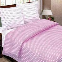 Ткань для постельного белья, поплин (хлопок) Горошек розовый, компаньон (белая ткань в горошки)