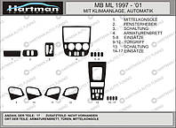 Mersedes ML klass W163 накладки на панель VIP цвет алюминий