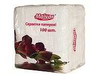 "Салфетка столовая 100шт. ""Malvar"" 24 * 24 БЕЛАЯ 16шт. / Уп ."