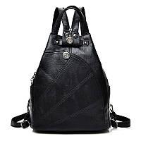 Рюкзак сумка женский городской треугольной формы (черный), фото 1