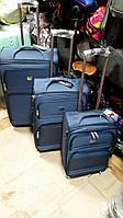 Комплект дорожных чемоданов 3в1 на колесах синий серый черный