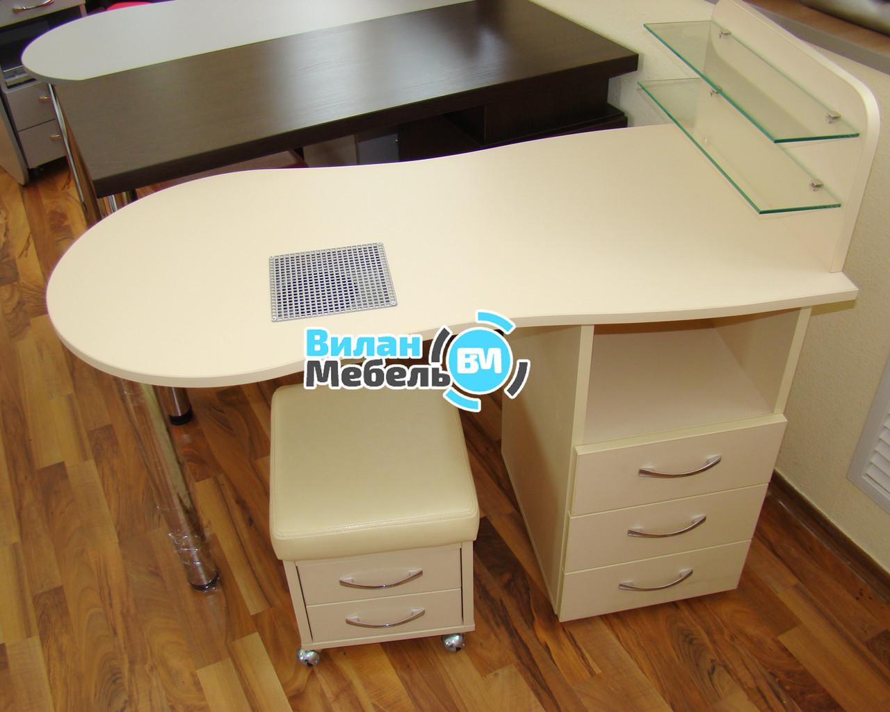 """Манікюрний стіл """"стандарт"""" з вбудованою витяжкою+пуф для педикюру"""