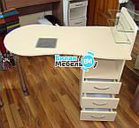 """Манікюрний стіл """"стандарт"""" з вбудованою витяжкою+пуф для педикюру, фото 5"""