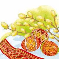 """Салфетка ТМ """"La Fleur"""" 33 * 33, 2 слоя, 20шт. """"Верба и пасхальные яйца"""" 15уп / ящ"""