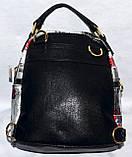 Женский маленький черный рюкзак из искусственной кожи 19*21 см (Бабочки), фото 2