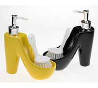 Туфелька - дозатор со щеткой,3 цвета