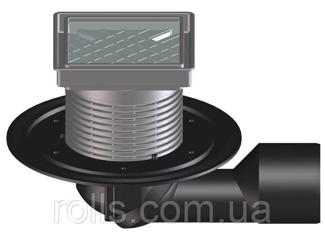 HL80-3020 Трап для балконов и террас, DN50/75 с бесступенчатой настройкой, с надставным эл.