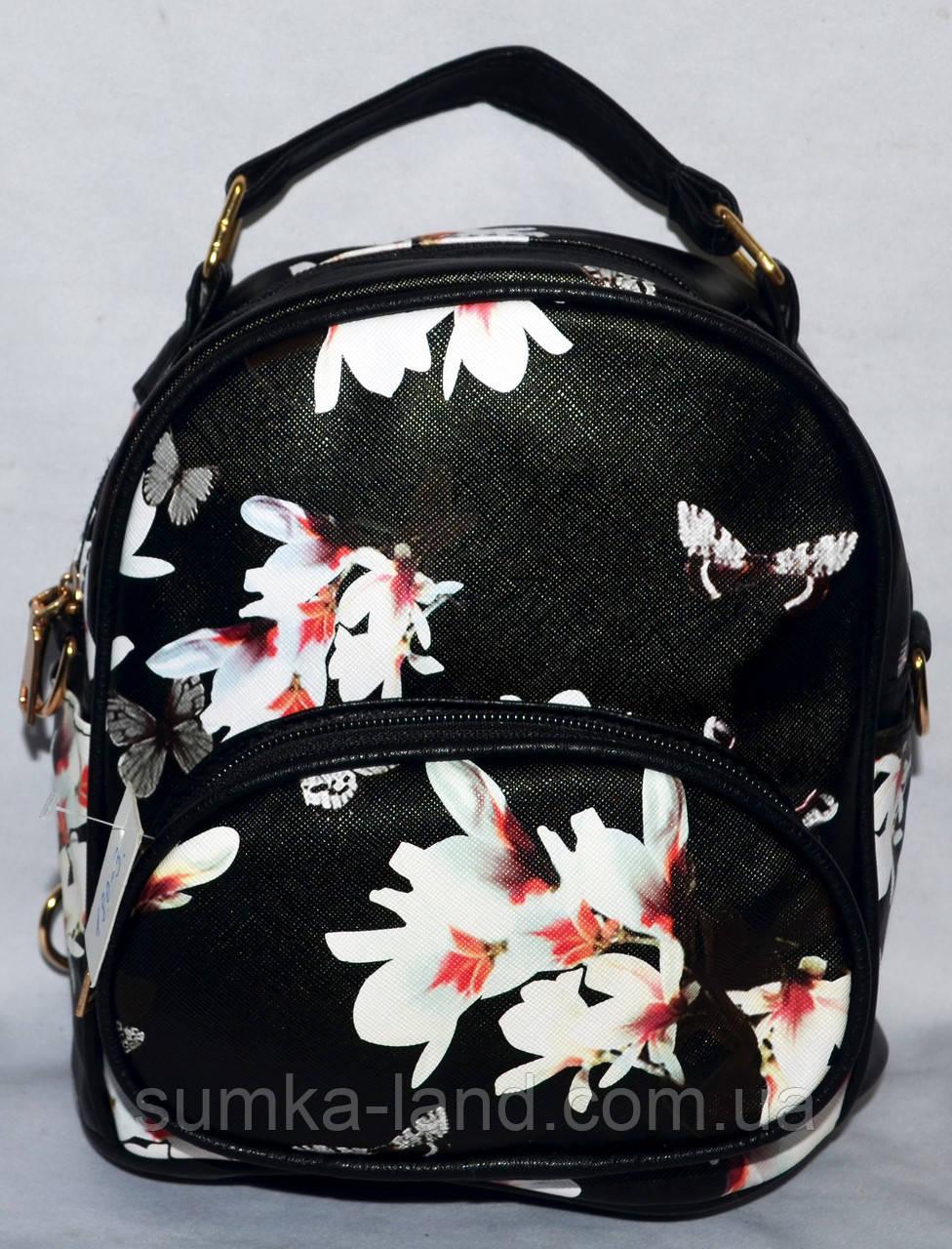 Женский маленький черный рюкзак из искусственной кожи 19*21 см (цветочки)