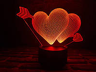 "Сменная пластина для 3D ламп ""Два сердца со стрелой"" 3DTOYSLAMP, фото 1"