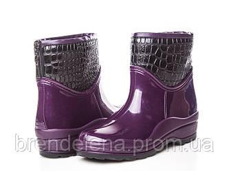 Стильні жіночі гумові чоботи на флісі (р41)