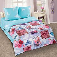 Ткань для детского постельного белья, поплин Ажур, компаньон -голубая ткань
