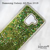 TPU чехол накладка Aquarium stars для Samsung Galaxy A8 Plus 2018 (a730) (зеленые блестки)