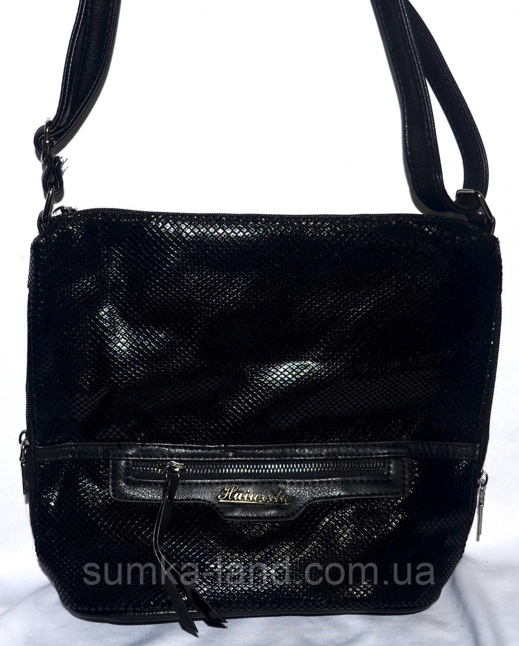 Женская черная сумка-клатч из лазерной кожи 26*25 см