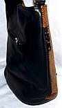 Женская синяя сумка-клатч из лазерной кожи на плечо 26*25 см, фото 3