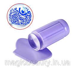 Односторонний силиконовый штамп и скрапер для стемпинга, цвет сиреневый.