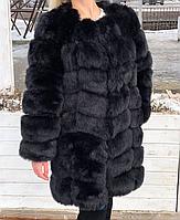 Чёрная женская шуба песец 90 см до колен