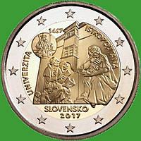 Словакия 2 евро 2017 г. 550-летие Истрополитанского Университета . UNC.