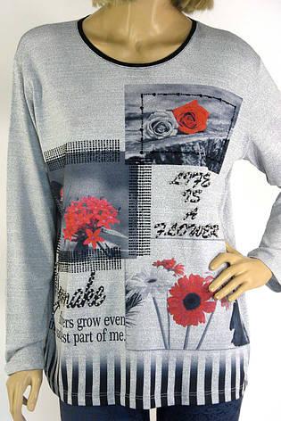 Жіночий реглан,кофта із квітковим принтом і стразами, фото 2