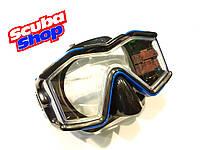 Маска для плавания и дайвинга с панорамными стеклами Intex (синяя)