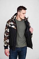 Двухцветная мужская куртка с отделкой из ткани с камуфляжным рисунком