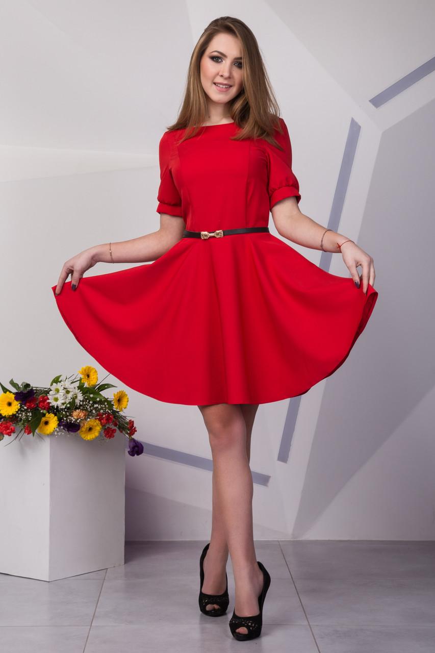 41a4b96b1b6 Яркое красное платье до колена с коротким рукавом - Интернет-магазин  стильной одежды