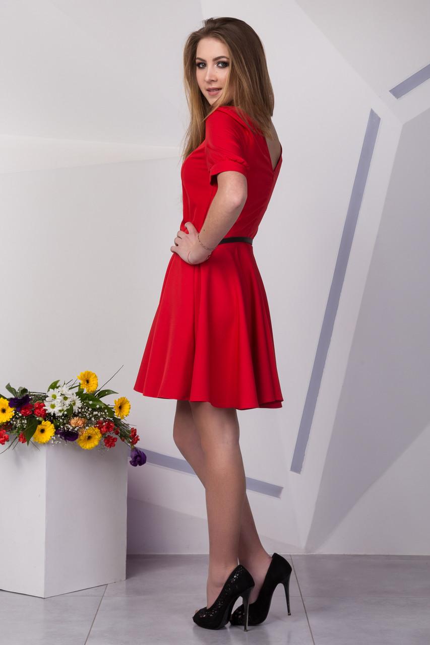 02f91848fa9 Яркое красное платье до колена с коротким рукавом  продажа