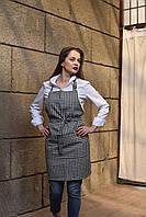 Фартук с нагрудником черно-белый для официанта, униформа для персонала, индивидуальный пошив, все размеры