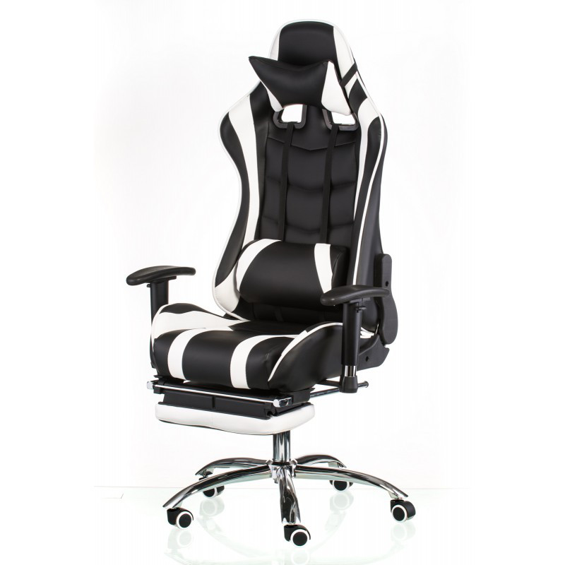 Кресло геймерское Special4You ExtremeRace black/white with footrest (Е4732)